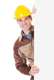Male Worker Holding Blank Placard Stock Images