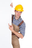Male Worker Holding Blank Placard Stock Photography