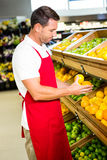 Male worker holding fruits. In grocery store Royalty Free Stock Photo