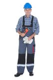 Male Worker Holding Wrench. Portrait Of Male Worker Holding Wrench Over White Background Stock Photos