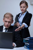 Male worker made a mistake. In the office Royalty Free Stock Images