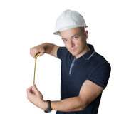 Male worker measure. Man worker measure Stock Photos