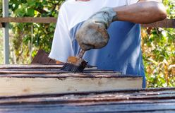 Male worker in old glove is painting the fence boards stock photography