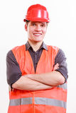 Male worker in orange uniform and helmet. Royalty Free Stock Photography