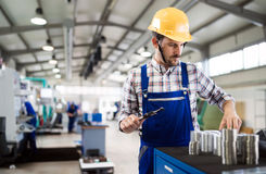 Male worker and quality control inspection in factory. Male worker and quality control inspection in metal industry factory Stock Image