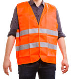 Male worker in safety vest. Job and work concept. Part body man worker wearing orange uniform safrty vest. Repairman inspector isolated on white Stock Photography