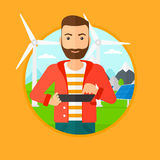 Male worker of solar power plant and wind farm. Royalty Free Stock Photos