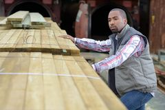 Male worker by stack wood royalty free stock image