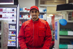 Male Worker At Store. Portrait Of Male Worker At Store Royalty Free Stock Photography