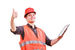 Male worker with tablet. Royalty Free Stock Photos