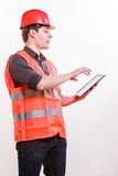 Male worker with tablet. Royalty Free Stock Images