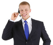 Male worker using a headset. A male businessman using a headset, isolated on white Stock Photo