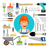 Male worker with working and construction tools Royalty Free Stock Photography