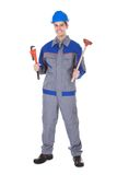 Male worker wrench. Portrait Of Male Worker Holding Wrench And Toolkit On White Background Royalty Free Stock Images