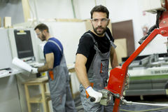 Male workers  in a factory Royalty Free Stock Photo