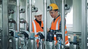 Male workers look at brewery equipment, close up. stock video