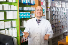 Male working in chemist shop Stock Images