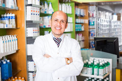 Male  working in chemist shop Royalty Free Stock Image