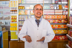 Male working in chemist shop Royalty Free Stock Photo