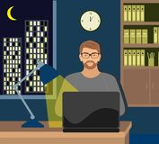 Male working late on her laptop. Vector illustration Male working late on her laptop. Surfing the internet, or perhaps working late with . Moonlit city scene royalty free illustration