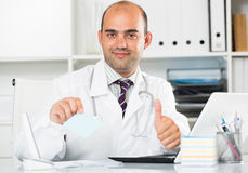 Male working in medical Center at the laptop Stock Photos