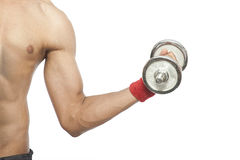 Male working out with dumbbells Royalty Free Stock Photos