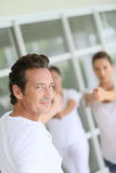 Male yoga teacher during the class Royalty Free Stock Images