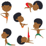 Male yoga vector collection. Handsome boys doing fitness exercises. Gymnastics for kids. African-American man in various workout poses. Sport healthy lifestyle Stock Photography