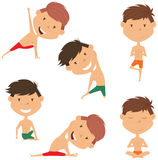 Male yoga vector collection. Handsome boys doing fitness exercises. Gymnastics for kids. Nice man in various workout poses. Sport healthy lifestyle Royalty Free Stock Image