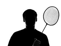 Male young athlete with a racket, badminton Royalty Free Stock Photos