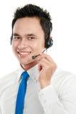 Male young call center operator Stock Photos