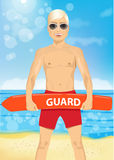 Male young lifeguard holding a rescue can Royalty Free Stock Image