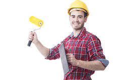 Male young smiling with the paint. Painter, male young smiling with the paint tools Royalty Free Stock Images