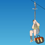 Male zip line rider front view Royalty Free Stock Image