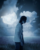 Male zombie walking at night Stock Photos