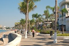 The Malecón in Puerto Vallarta, Mexico. This is the Malecón (or boardwalk) in Puerto Vallarta, Mexico, that runs along the Pacific Ocean and is a huge tourist Royalty Free Stock Images