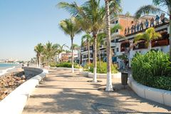 The Malecón in Puerto Vallarta, Mexico IV. This is the Malecón (or boardwalk) in Puerto Vallarta, Mexico, that runs along the Pacific Ocean and is a huge Stock Photography