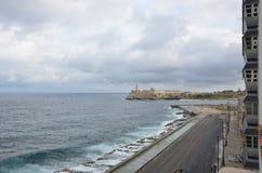 Malecon早晨,哈瓦那,古巴, 2012年 免版税库存图片
