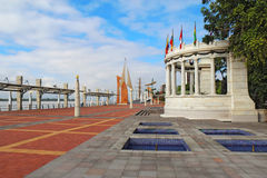 The Malecon 2000 in Guayaquil, Ecuador. View down the Malecon 2000 near the intersection with the  Avenue 9 de Octubre at the riverfront near the center of Stock Photography