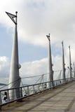 Malecon 2000 guayaquil ecuador. Walkway bridge with symbol poles malecon 2000 guayaquil boardwalk ecuador Royalty Free Stock Photography