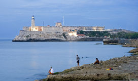 Malecon. El morro castle on the opposite of malecon - cuba Royalty Free Stock Images