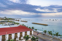 Malecon Aerial View, La Libertad, Ecuador. Aerial view of malecon at La Libertad city, a coastal city located in Ecuador, South America Royalty Free Stock Photography