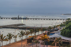 Malecon Aerial View, La Libertad, Ecuador. Aerial view of malecon at La Libertad city, a coastal city located in Ecuador, South America Royalty Free Stock Photo
