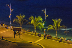 Malecon Aerial View, La Libertad, Ecuador. LA LIBERTAD, ECUADOR, MAY -2016 - Tropical urban night scene at malecon in La Libertad, a coastal city located in Royalty Free Stock Photography