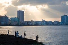 Malecon al tramonto, Avana Immagine Stock Libera da Diritti