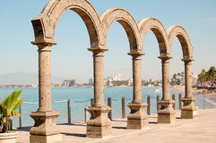 Malecon. Arches on the Malecon in Puerto Vallarta Mexico Stock Photo