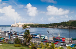 The Malecon avenue in Havana. HAVANA - SEPTEMBER 26:Tourism buses along the Malecon in Havana.With its favourable climate, colonial architecture and distinct Stock Images