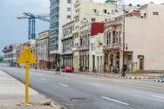 HAVANA, CUBA - OCTOBER 21, 2017: Malecon Avenue in Havana, Cuba. Local Architecture. Malecon Avenue in Havana, Cuba. Local Architecture Royalty Free Stock Images
