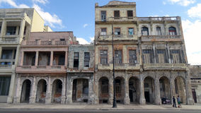 Malecon Avenue Havana. View of a group of buildings (colonial architecture) very damaged on the Malecon, Havana famous avenue Stock Photo