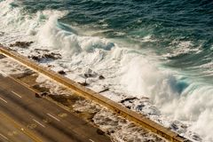 Malecon waves in Havana, Cuba. Malecon big waves in Havana, Cuba Royalty Free Stock Image